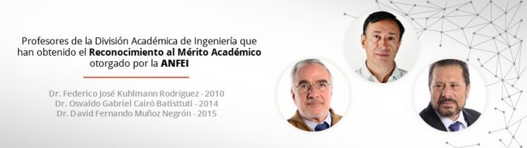 Profesores de la División Académica de Ingeniería que han obtenido el Reconocimiento al Mérito Académico otorgado por la ANFEI
